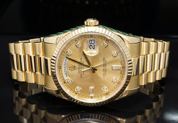 ROLEX 2004 Day-Date 36, 18ct Yellow Gold, 118238, Diamond Dial, Rolex Service