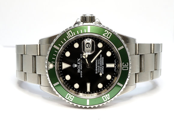 "ROLEX 2007 Submariner ""Kermit"" 16610LV, Green Bezel, Box & Papers"