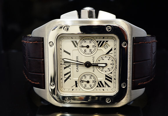 CARTIER 2008 Santos 100XL Chronograph, Stee. W20090X8, Box & Papers