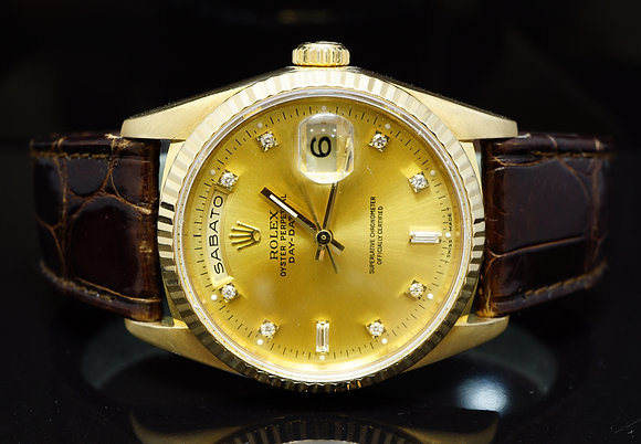 ROLEX 1990 18ct Yellow Gold Daydate, Diamond Dial, 18238, Boxed