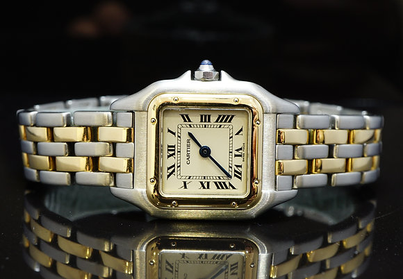 CARTIER Panther Steel & Gold, 2 Row,MINT, Boxed