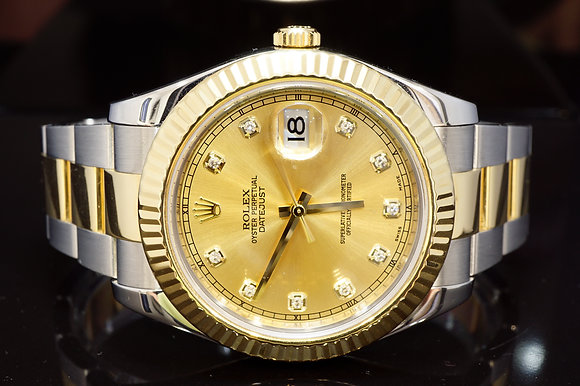 ROLEX 2011 41mm Datejust 2, Steel & Gold, 116333, Diamond Dot Dial, Box & Papers