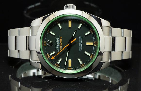 ROLEX Milgauss Green Glass 116400GV 2011 MINT, B&P