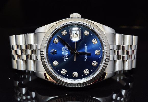 ROLEX 2007 36mm Datejust, Steel, Blue Diamond Dot, 116234, MINT, Box & Papers