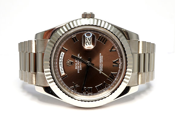ROLEX 2012 Day-Date II, 218239, 41mm, Chocolate Dial, Box & Papers