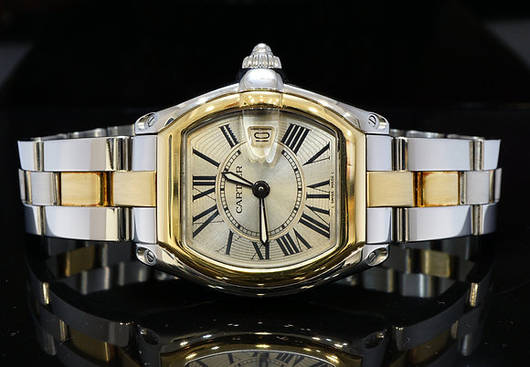 CARTIER 2010 Ladies Roadster, Steel & Gold, W62026Y4, MINT, Box & Papers