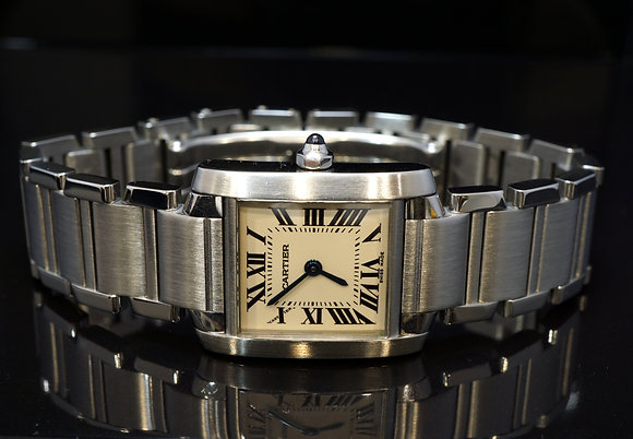 CARTIER 2004 Tank Francaise, Ladies, Steel, 2384, MINT, Box & Papers