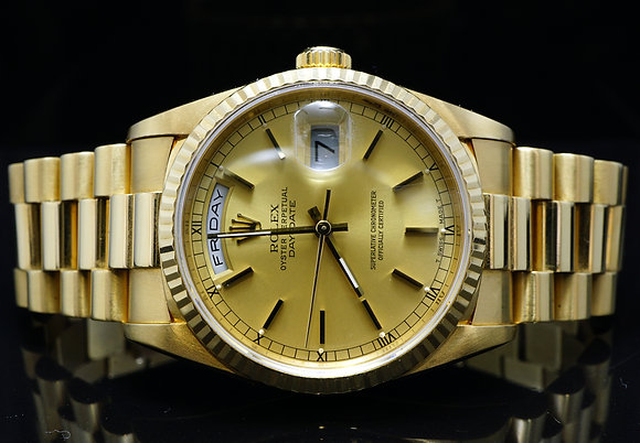 ROLEX 1990 36mm Day-Date, 18ct Yellow Gold, 18238, MINT, Boxed