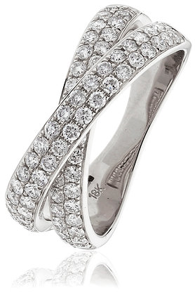 18ct White Gold 2 Row Cross Over Ring