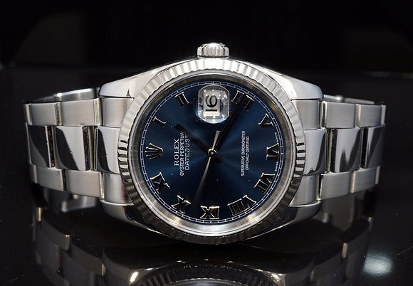 ROLEX 2005 Datejust 36, Blue Roman, 116234, Boxed