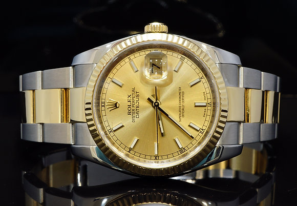ROLEX 2008 36mm Datejust, Steel & Gold,116233, Boxed