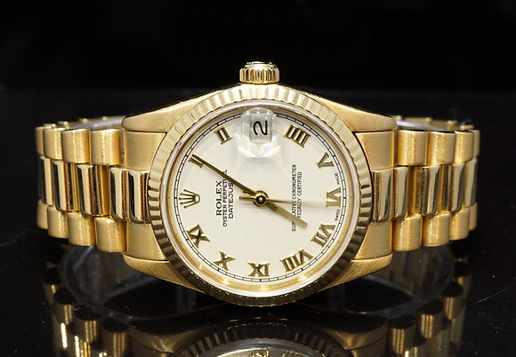 ROLEX 1991 31mm Datejust, 18ct Yellow Gold, 68278, Boxed