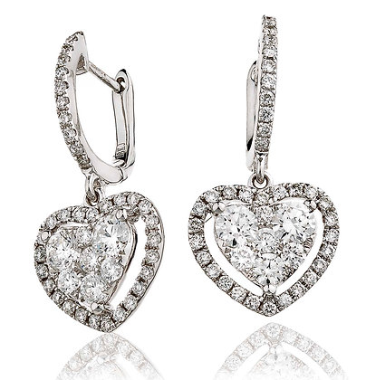 18ct White Gold Halo style Heart cluster Drops