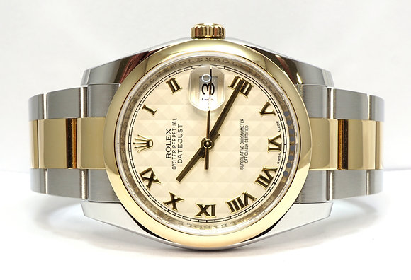 ROLEX 2015 Datejust 36, 116203, Steel & Yellow Gold, Ivory Roman, Box & Papers