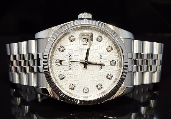 ROLEX 2007 36mm Datejust, Diamond Dot,116234, Box & Papers