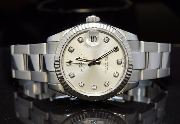 ROLEX 2008 31mm Datejust, Steel, DIamond Dot Dial, 178274, Box & Papers