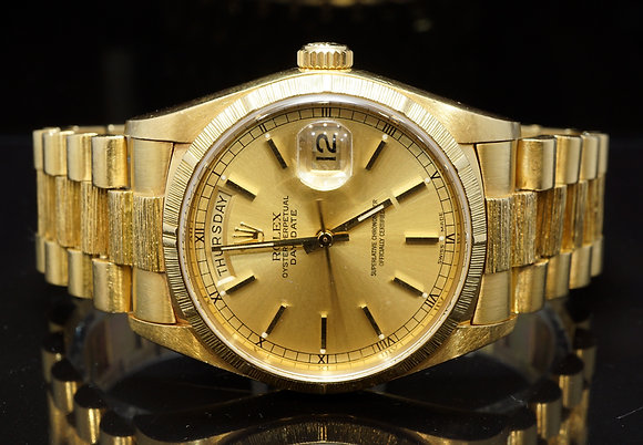 ROLEX 1985 36mm Day-Date, 18ct Yellow Gold,18078, Barked, Box & Papers
