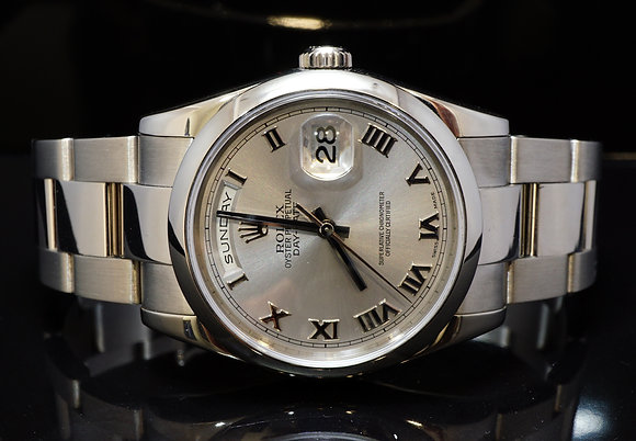 ROLEX 2017 36mm Day-Date, 18ct White Gold, 118209, MINT, Box & Papers
