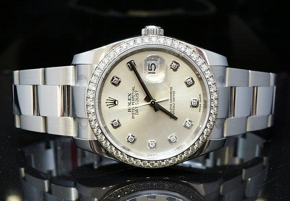 ROLEX 36mm Datejust, 116244, Factory Diamond Dial & Bezel, MINT