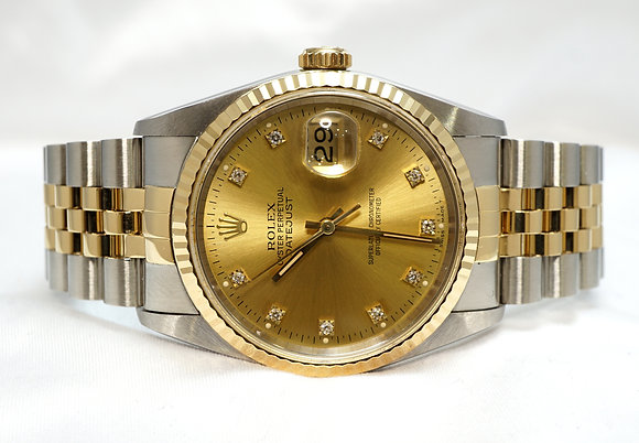 ROLEX 1992 Datejust 36, 16233, Diamond Dot Dial, Box & Papers