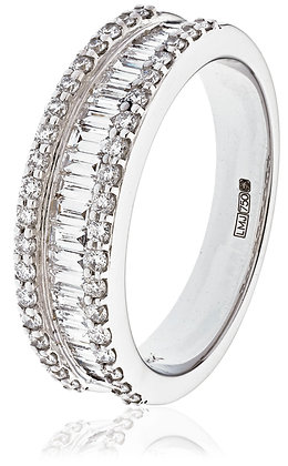 18ct White Gold Baguette Half Eternity Ring