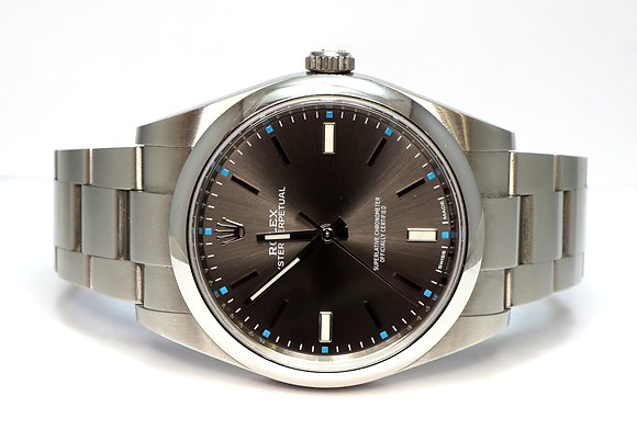 ROLEX 2019 Oyster Perpetual 39, 114300, Dark Rhodium, Box & Papers