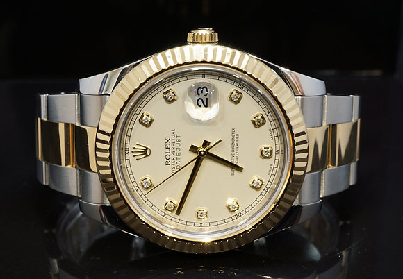 ROLEX 2011+ 41mm Datejust 2, Steel & Gold, 116333,Diamond Dial, Boxed