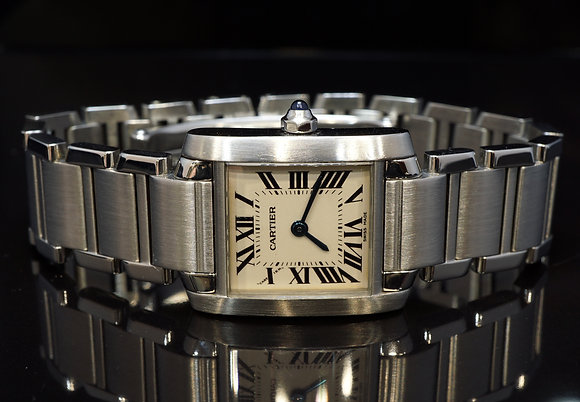CARTIER 2005 Tank Francaise, Steel, 2384, MINT, Box & Papers
