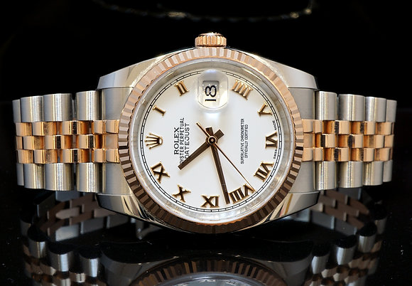 ROLEX 2016 36mm Datejust, 116231 Steel & Rose Gold, B&P