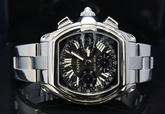 CARTIER 2010 Roadster Chronograph, Steel, W62007X6, MINT, Box & Papers