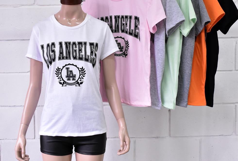 """Remera Jersey Tubular Estampado """"LOS ANGELES"""" #6222"""