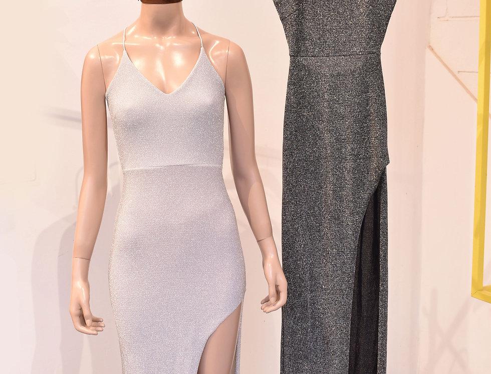 Vestido Lurex Largo con Tajo #399