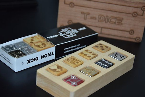 Big wooden Set of Tron Dice