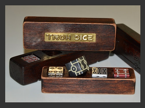Small wooden Set of Tron Dice