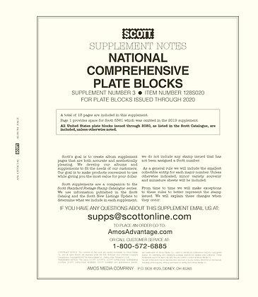 2020 Scott US Comprehensive Plate Block Supplement #3