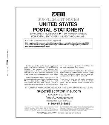 2020 Scott U.S. National Postal Stationery Supplement #64