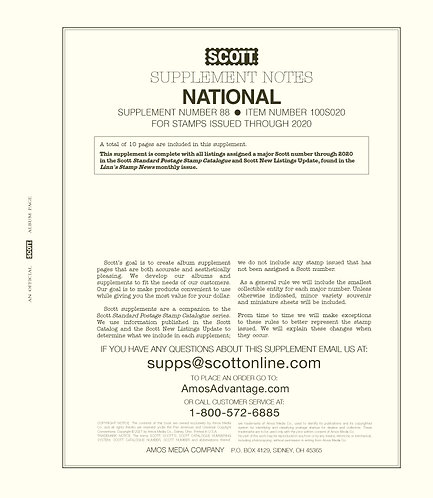 2020 Scott U.S. National Supplement #88