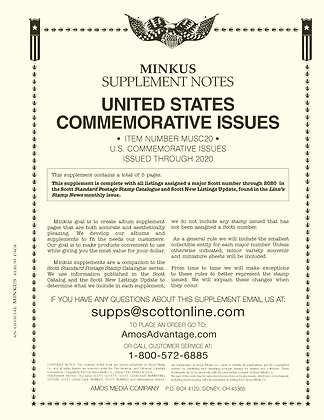 2020 Minkus US Commemorative Issues