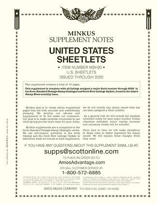 2020 Minkus U.S. Sheetlets Supplement