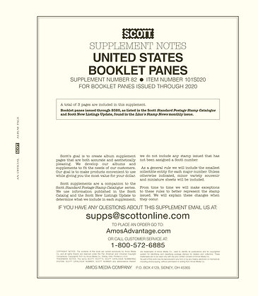 2020 Scott US National Booklet Pane Supplement #82