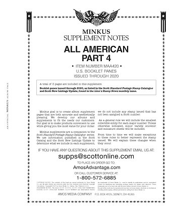 2020 Minkus All-American US Booklet Pane Pt 4 Supplement