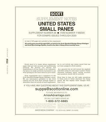 2020 Scott US Small Panes Supplement #25
