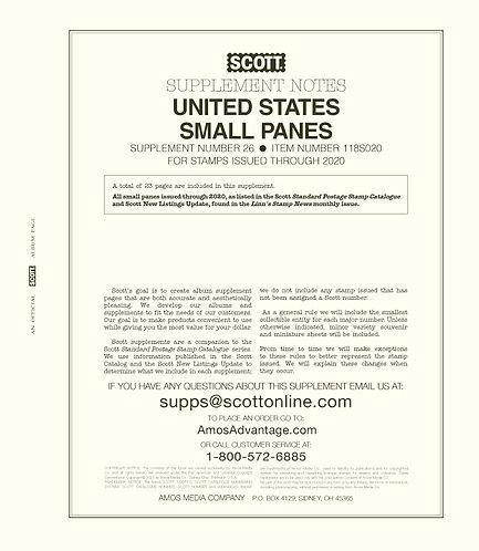 2020 Scott US Small Panes Supplement #25