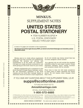 2020 Minkus U.S. Postal Stationery Supplement