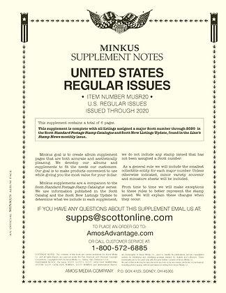 Minkus U.S. Regular Issues for 2020