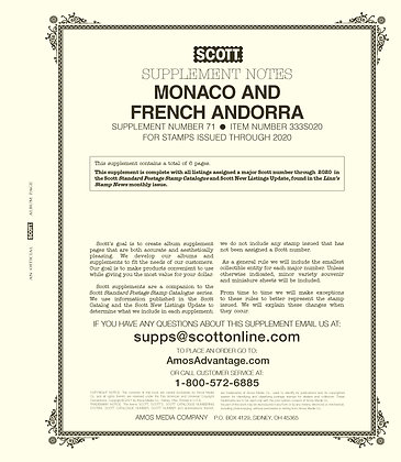 2020 Scott Monaco & French Andorra Supplement #71