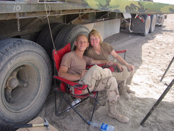 Jake and Heidi hanging out in Iraq.