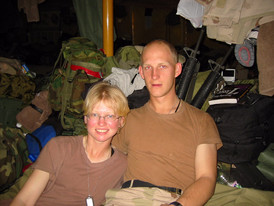 Jake and I hanging out in our tent in Kuwait