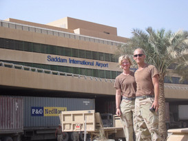 Jake and I in front of the Saddam International Airport