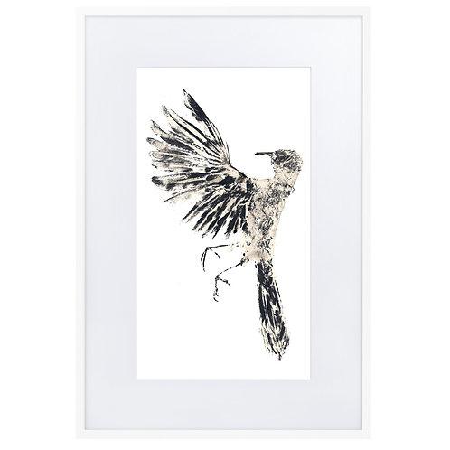 Matte Paper Framed Poster With Mat - Northern Mockingbird (IA77V1)